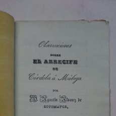 Libros antiguos: AGUSTÍN ÁLVAREZ DE SOTOMAYOR: OBSERVACIONES SOBRE EL ARRECIFE DE CÓRDOBA A MÁLAGA (1839). Lote 97817659