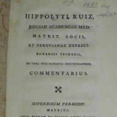Libros antiguos: (MF) BOTANICA - HIPPOLYTI RUIZ REGIAE ACADEMIAE MED. MATRIT SOCII ET PERUVIANAE BOTANICI 1748. Lote 99673487