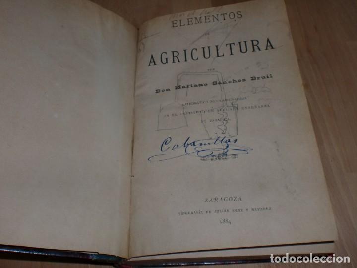 Libros antiguos: Elementos de Agricultura - Mariano Sánchez - 1884 - Encuadernación Lujo *AB* - Foto 3 - 99719347