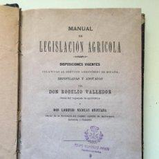 Libros antiguos: MANUAL DE LEGISLACION AGRICOLA- ROGELIO VALLEDOR Y LORENZO NICOLAS QUINTANA. Lote 99940563