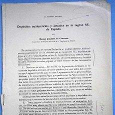 Libros antiguos: ARTICULO DEPOSITOS CUATERNARIOS Y ACTUALES EN LA REGION S.E ESPAÑA JIMENEZ CISNEROS 1929. Lote 100456411
