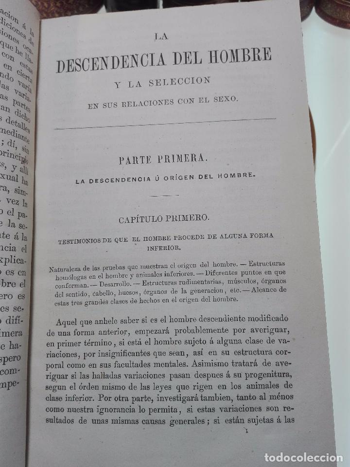 Libros antiguos: LA DESCENDENCIA DEL HOMBRE Y LA SELECCIÓN EN RELACION AL SEXO - CHARLES DARWIN - MADRID - 1885 - - Foto 4 - 101275599