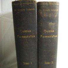 Libros antiguos: TRATADO DE QUIMICA FARMACÉUTICA - 2 TOMOS - ERNESTO SCHMIDT. Lote 103165859