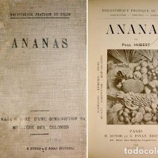 Libros antiguos: HUBERT, PAUL. ANANAS. [PLANTATIONS, ENTRETIEN, FRUITS, RÉCOLTE, CONSERVATION, DEVIS...]. 1908.. Lote 103674815