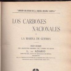 Livros antigos: . DE ADARO: LOS CARBONES NACIONALES Y LA MARINA DE GUERRA. OVIEDO 1912. MINERÍA. ASTURIAS. Lote 104356919