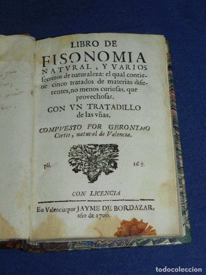 (MF) GERONIMO CORTES - LIBRO DE FISONOMIA NATURAL Y VARIOS SECRETOS DE LA NATURALEZA , VALENCIA 1700 (Libros Antiguos, Raros y Curiosos - Ciencias, Manuales y Oficios - Bilogía y Botánica)