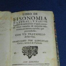 Libros antiguos: (MF) GERONIMO CORTES - LIBRO DE FISONOMIA NATURAL Y VARIOS SECRETOS DE LA NATURALEZA , VALENCIA 1700. Lote 104886575