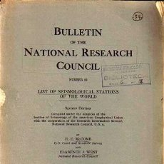 Libros antiguos: BULLETIN OF NATIONAL RESEARCH COUNCIL Nº 82, LIST SEISMOLOGICAL STATIONS WORLD MCCOMB, J. WEST 1931. Lote 105058383