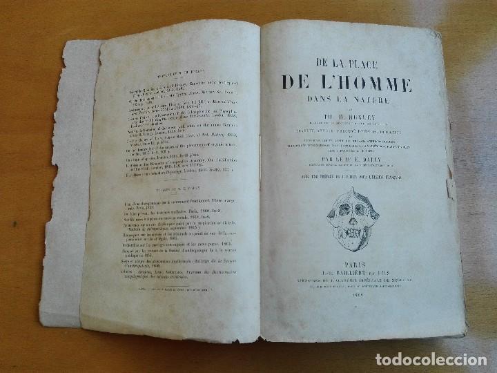 DE LA PLACE DE L'HOMME DANS LA NATURE. HUXLEY, TH[OMAS] H[ENRY] 1868 (Libros Antiguos, Raros y Curiosos - Ciencias, Manuales y Oficios - Bilogía y Botánica)