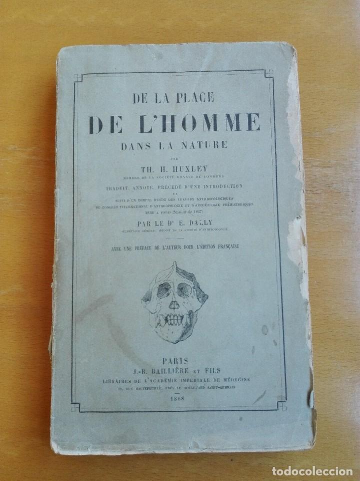 Libros antiguos: De la place de l'homme dans la nature. Huxley, Th[omas] H[enry] 1868 - Foto 2 - 107884983