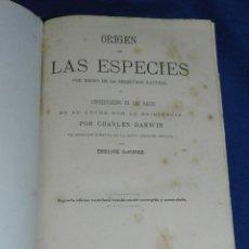 Libros antiguos: (MF) CHARLES DARWIN - ORIGEN DE LAS ESPECIES , 2 EDC CASTELLANA , TRADUC. ENRIQUE GODINEZ , MADRID . Lote 108053267