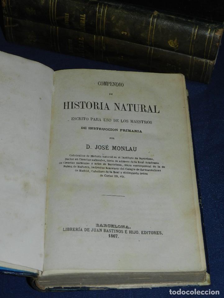 Libros antiguos: (MF) JOSE MONLAU - COMPENDIA DE HISTORIA NATURAL 1867 , MINERALOGIA, ZOOLOGIA Y BOTANICA , 3 VOLS - Foto 2 - 108053771