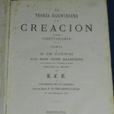 Libros antiguos: (MF) RCR - LA TEORIA DARWINIANA Y LA CREACION LLAMADA INDEPENDIENTE CHARLES DARWIN 1878. Lote 109258147