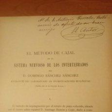 Libros antiguos: DOMINGO SÁNCHEZ SÁNCHEZ 1910 EL MÉTODO DE CAJAL CONGRESO DE ZARAGOZA DEDICATORIA MANUSCRITA. Lote 110166763