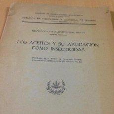 Libros antiguos: ESTACION FITOPATOLOGIA AGRÍCOLA LEVANTE VALENCIA BURJASOT ACEITES INSECTICIDAS GONZÁLEZ-REGUERAL . Lote 110273787