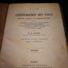 Libros antiguos: ATLAS. TRATADO DE CONSTRUCCIÓN DE TALUDES. PARIS 1873. 25 LAMINAS GRABADOS. M. R. BRUERE. PASTA DURA. Lote 111438754