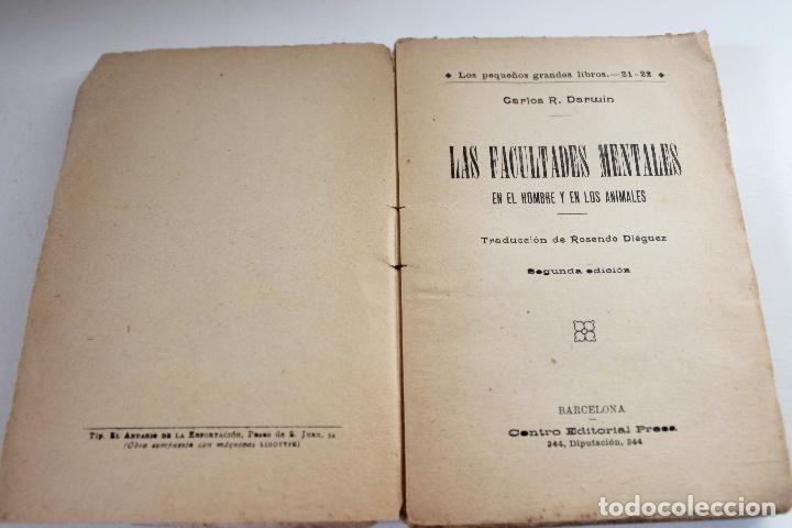 Libros antiguos: Las facultades mentales en el hombre y en los animales. Carlos Darwin. Ed. Presa. ca 1905 Biología - Foto 3 - 111873951