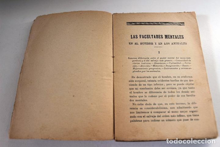 Libros antiguos: Las facultades mentales en el hombre y en los animales. Carlos Darwin. Ed. Presa. ca 1905 Biología - Foto 4 - 111873951