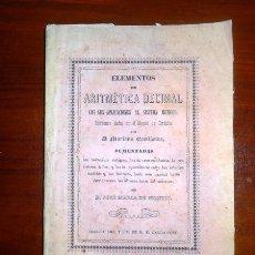 Libros antiguos: CASTIÑEIRA, MARIANO. ELEMENTOS DE ARITMÉTICA DECIMAL CON SUS APLICACIONES AL SISTEMA MÉTRICO . Lote 112689079