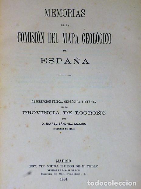 Libros antiguos: DESCRIPCIÓN FÍSICA, GEOLÓGICA Y MINERA DE LA PROVINCIA DE LOGROÑO - Foto 2 - 114683227