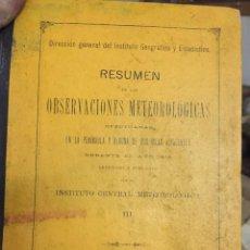 Libros antiguos: OBSERVACIONES METEOROLOGICAS EN ESPAÑA EN 1908. MADRID 1909.. Lote 114798147