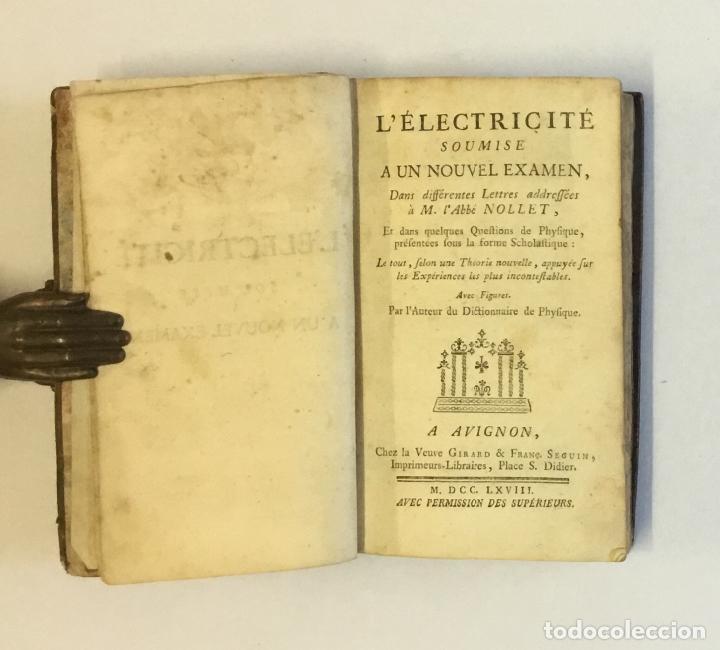 Libros antiguos: L'ELECTRICITÉ SOUMISE A UN NOUVEL EXAMEN... [PAULIAN, Aimé Henri.] 1768. ELECTRICIDAD. - Foto 4 - 114799628