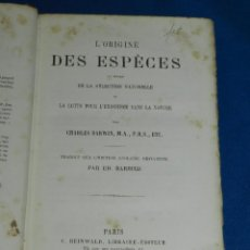 Libros antiguos: (MF) CHARLES DARWIN - L'ORIGINE DES ESPECES AU MOYEN DE LA SELECTION NATURELLE , PARIS 1880. Lote 114919511