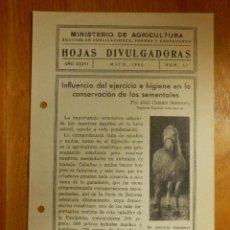 Libros antiguos: HOJAS DIVULGADORAS MINISTERIO AGRICULTURA 1944 Nº 17 AÑO XXXVI -EJERCICIO E HIGIENE EN SEMENTALES. Lote 115086859