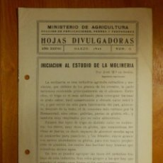Libros antiguos: HOJAS DIVULGADORAS MINISTERIO AGRICULTURA - 1946 Nº 11 AÑO XXXVIII - INICIACIÓN ESTUDIO DE MOLINERÍA. Lote 115092567