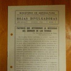 Libros antiguos: HOJAS DIVULGADORAS MINISTERIO AGRICULTURA - 1946 Nº 9 AÑO XXXVIII - FACTORES PARA ABONADO DE TIERRAS. Lote 115093719