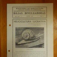 Libros antiguos: HOJAS DIVULGADORAS MINISTERIO AGRICULTURA - 1936 Nº 2 - AÑO XXX - HECICICULTURA LUCRATIVA . Lote 115095435