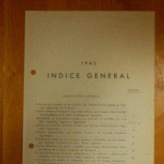 Libros antiguos: HOJAS DIVULGADORAS MINISTERIO AGRICULTURA - 1942 - INDICE GENERAL - . Lote 115095727