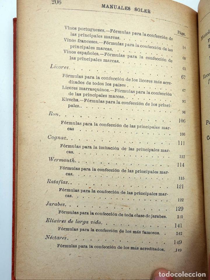 Libros antiguos: MANUALES SOLER XXXVII 37. FORMULARÍO QUÍMICO INDUSTRIAL (P Trías y Planes) Suc. Manuel Soler, s/f - Foto 4 - 116055744