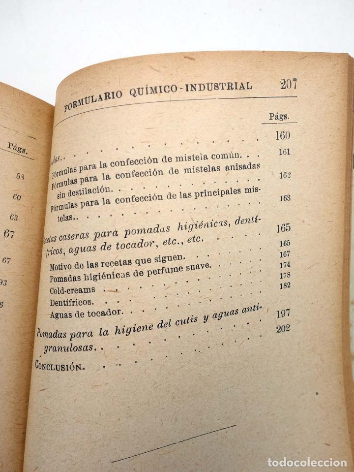 Libros antiguos: MANUALES SOLER XXXVII 37. FORMULARÍO QUÍMICO INDUSTRIAL (P Trías y Planes) Suc. Manuel Soler, s/f - Foto 5 - 116055744
