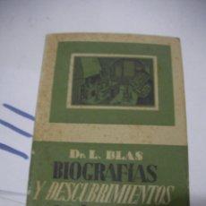 Libros antiguos: ANTIGUO LIBRO - BIOGRAFIAS Y DESCUBRIMIENTOS QUIMICOS. Lote 116133175