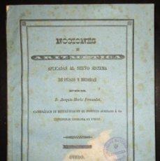 Libros antiguos: NOCIONES DE ARITMÉTICA APLICADAS AL NUEVO SISTEMA DE PESOS Y MEDIDAS. OVIEDO, 1853.. Lote 116135099