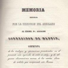 Libros antiguos: LUCAS DE TORNOS. SOBRE EL ARBOLADO DEL AYUNTAMIENTO DE MADRID. MADRID, 1849. CURIOSO.. Lote 116450327