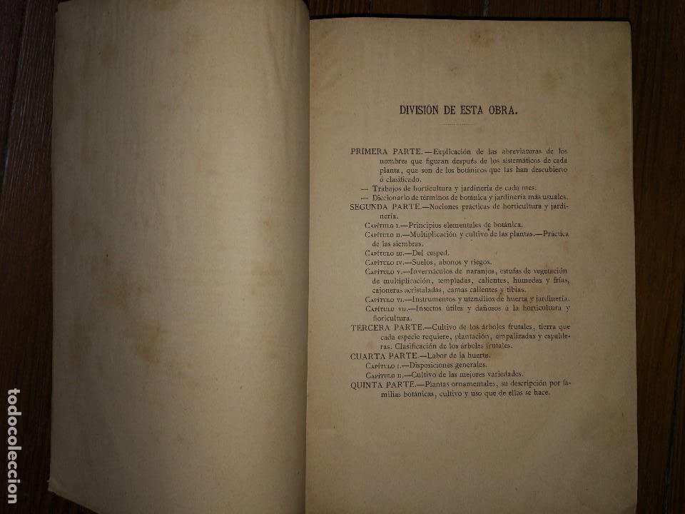 Libros antiguos: Novísima Guía del Hortelano, Jardinero y Arbolista. Con 555 grabados. Balbino Cortés. 1885 - Foto 3 - 117736099