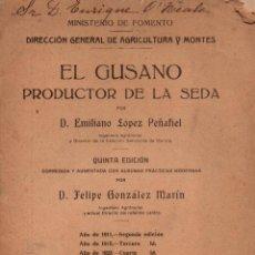 Libros antiguos: EL GUSANO PRODUCTOR DE LA SEDA. D. EMILIANO LÓPEZ PEÑAFIEL. QUINTA EDICIÓN.. Lote 118259099