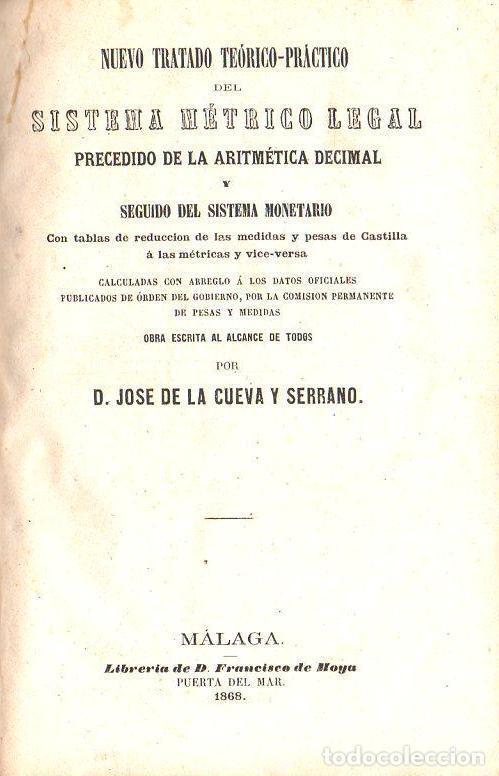 DE LA CUEVA Y SERRANO : SISTEMA MÉTRICO LEGAL SEGUIDO DEL SISTEMA MONETARIO (MÁLAGA, 1868) (Libros Antiguos, Raros y Curiosos - Ciencias, Manuales y Oficios - Física, Química y Matemáticas)
