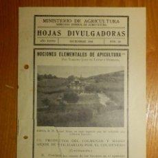 Libros antiguos: HOJAS DIVULGADORAS MINISTERIO AGRICULTURA 1934 Nº 23 AÑO XXVIII NOCIONES ELEMENTALES DE APICULTURA. Lote 119772819