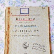 Libros antiguos: 1935 REAL ACADEMIA CIENCIAS DISCURSO JOSE G. SIÑERIZ ENRIQUE HAUSER. Lote 41224003