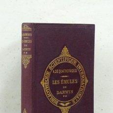 Libros antiguos: QUATREFAGES (A. DE). LES ÉMULES DE DARWIN. TOME SECOND. 1894. Lote 121329666