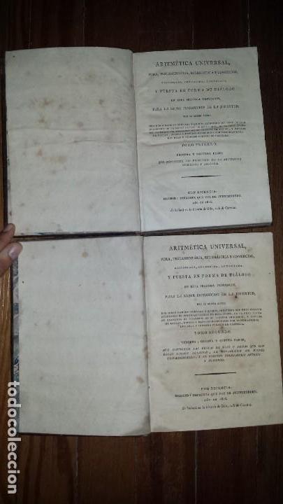 Libros antiguos: Aritmética Universal Pura Testamentária Eclesiástica y Comercial. Diego Narciso. 1818. Tomos I y II - Foto 2 - 121348563