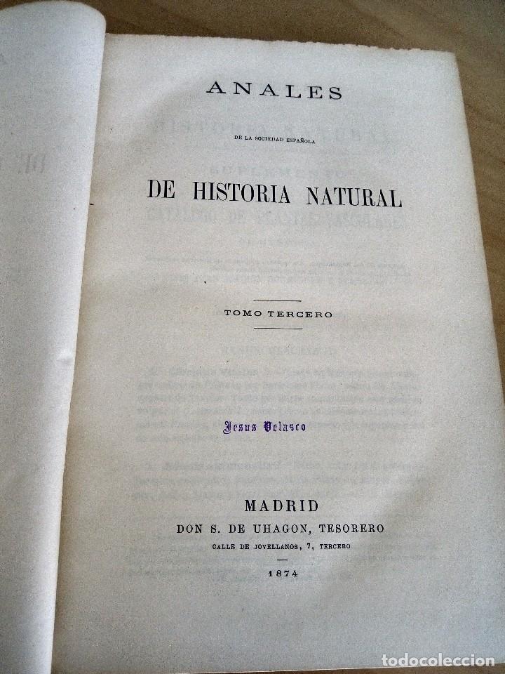 ANALES DE LA SOCIEDAD ESPAÑOLA DE HISTORIA NATURAL. TOMO III. (Libros Antiguos, Raros y Curiosos - Ciencias, Manuales y Oficios - Bilogía y Botánica)