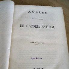 Libros antiguos: ANALES DE LA SOCIEDAD ESPAÑOLA DE HISTORIA NATURAL. TOMO III.. Lote 121738835