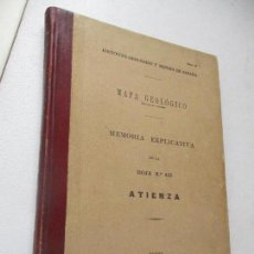 Libros antiguos: INSTITUTO GEOLÓGICO Y MINERO DE ESPAÑA-MAPA GEOLÓGICO MEMORIA EXPLICATIVA DE LA HOJA Nº 433-ATIENZA-. Lote 122000743
