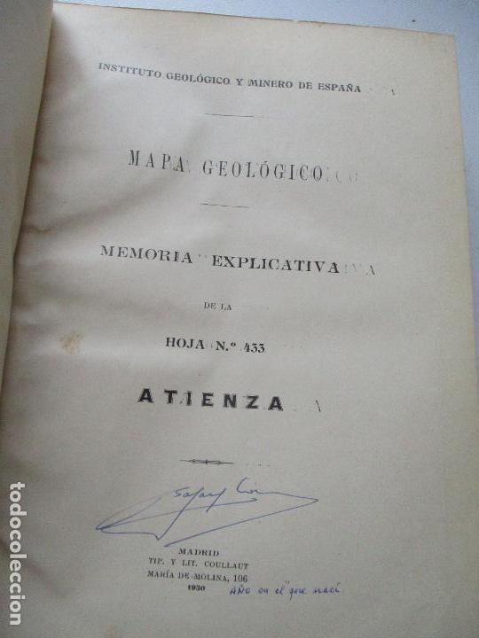Libros antiguos: INSTITUTO GEOLÓGICO Y MINERO DE ESPAÑA-MAPA GEOLÓGICO MEMORIA EXPLICATIVA DE LA HOJA Nº 433-ATIENZA- - Foto 2 - 122000743