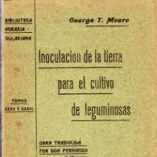 Libros antiguos: BIBLIOTECA AGRARIA SOLARIANA. INOCULACION DE LA TIERRA PARA EL CULTIVO DE LEGUMINOSAS. DOS TOMO.1906. Lote 123330511
