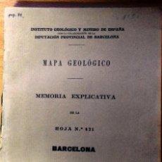 Libros antiguos: BARCELONA MAPA GEOLÓGICO MEMORIA HOJA 421 . INSTITUTO GEOLÓGICO Y MINERO DE ESPAÑA. 1928. Lote 123393127